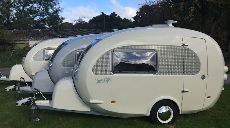 Used barefoot caravan for sale Retro Curbed Barefoot Caravans Bespoke Caravans As Seen On Channel